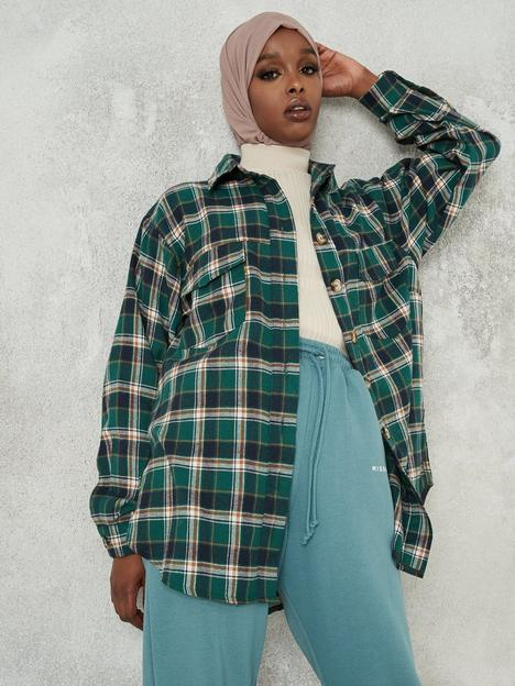 missguided-missguided-extreme-oversized-check-shirt-green