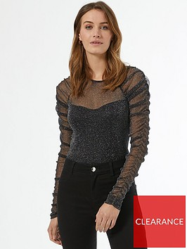 dorothy-perkins-ruched-sleeve-glitter-mesh-top-black
