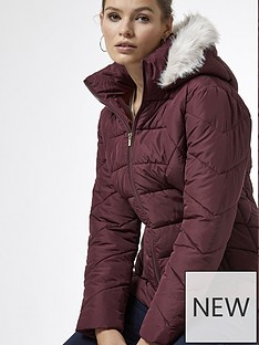 dorothy-perkins-short-length-faux-fur-hooded-padded-coat-red