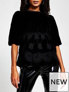 river-island-double-frill-hem-velvet-blouse-black