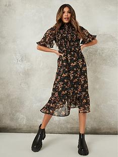 missguided-floral-high-neck-midi-dress