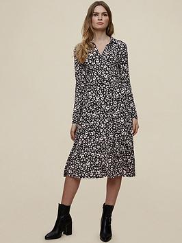 dorothy perkins jersey mono floral shirt dress - black