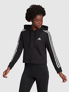 adidas-3-stripe-cropped-hoodie-blackwhite
