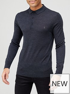 allsaints-mode-merino-wool-knitted-long-sleeve-polo-shirtnbsp-nbspdarknbspgrey
