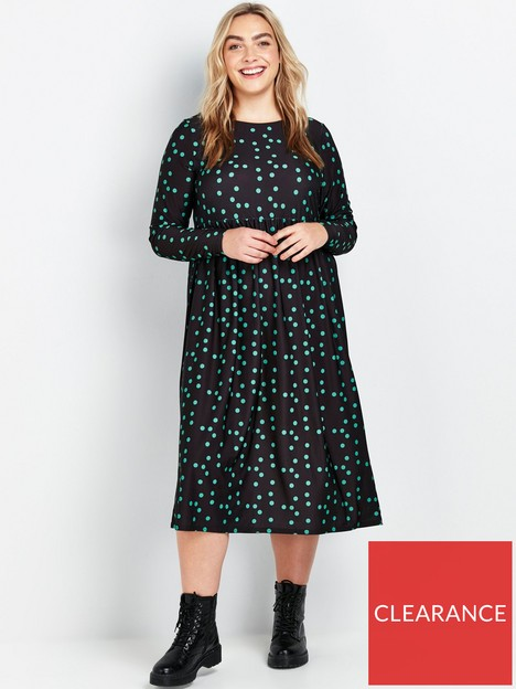 evans-green-spot-midi-jersey-dress-black