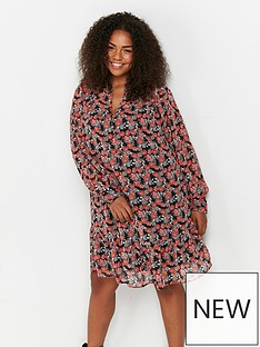 evans-red-floral-button-tiered-hem-tunic-multi