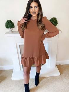 ax-paris-petite-long-sleeve-frill-shift-dress-camel