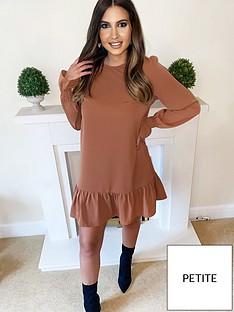ax-paris-petite-long-sleeve-frill-shift-dress-camel