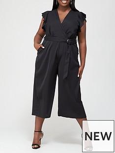 ax-paris-curve-three-quarter-leg-wrap-jumpsuit-black