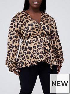 ax-paris-curve-camel-leopard-print-frill-wrap-top-printed