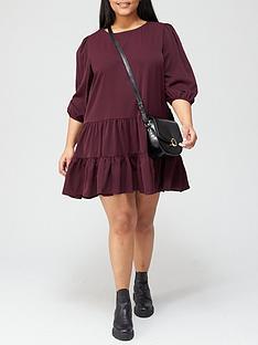 ax-paris-curve-teared-hem-swing-dress-plum