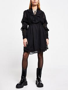 river-island-frill-detail-midi-dress-black
