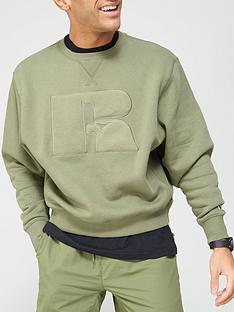 russell-athletic-brushed-logo-crew-neck-sweatshirt-khaki