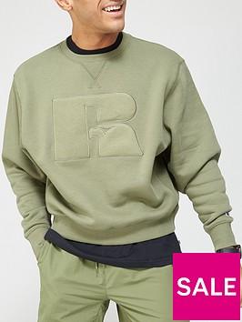 russell-athletic-brushed-logo-crew-neck-sweatshirt-khaki