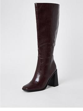 River Island High Leg Block Heel Boot - Dark Red, Dark Red, Size 6, Women