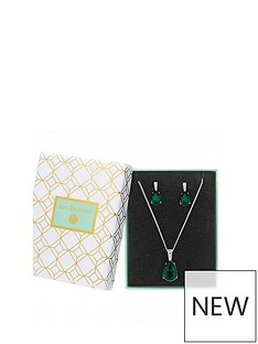 jon-richard-silver-plated-emerald-crystal-pear-drop-set
