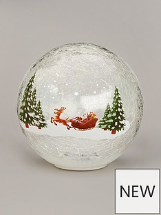 festive-20cm-battery-operated-lit-crackle-ball-santa-sleigh