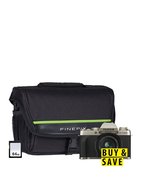 fujifilm-x-t200-mirrorless-camera-with-15-45-mm-f35-56-xc-zoom-lens-64gb-sd-card-amp-bag-champagne-gold