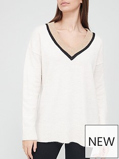 v-by-very-v-neck-tipping-detail-knitted-jumper
