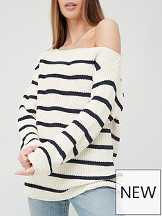 v-by-very-slouchy-off-the-shoulder-stripe-knitted-jumper