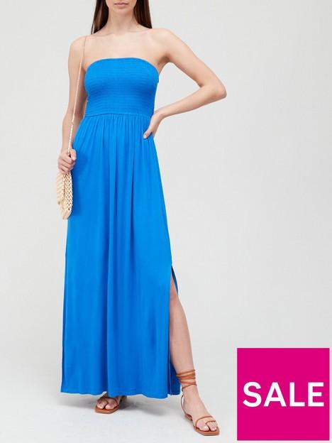 v-by-very-shirred-bandeau-maxi-dress-blue