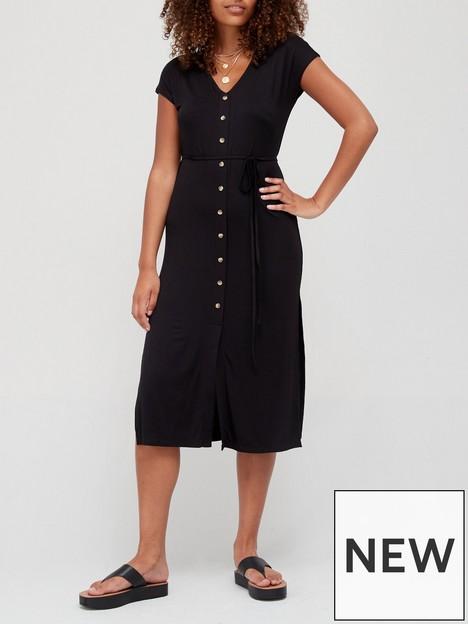 v-by-very-jersey-button-through-midi-dress-black