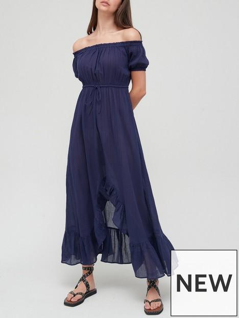 v-by-very-lightweight-bardot-midi-dress-navy