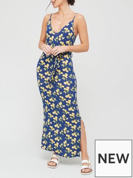 v-by-very-strappy-belted-midi-dress-print