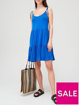 v-by-very-tie-shoulder-tiered-strappy-jersey-dress-bluenbsp