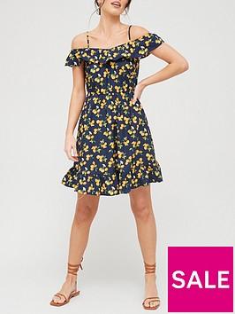 v-by-very-cold-shoulder-frill-mini-dress-print