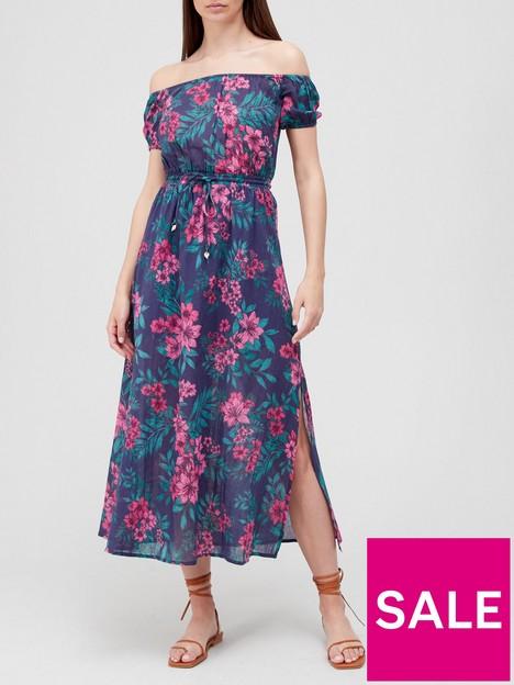 v-by-very-crinkle-bardot-midi-dress-print
