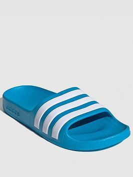 Adidas Children's Adilette Aqua Sliders - Blue