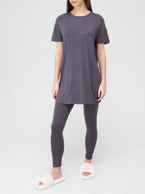 v-by-very-value-longline-tee-and-legging-lounge-set-charcoal