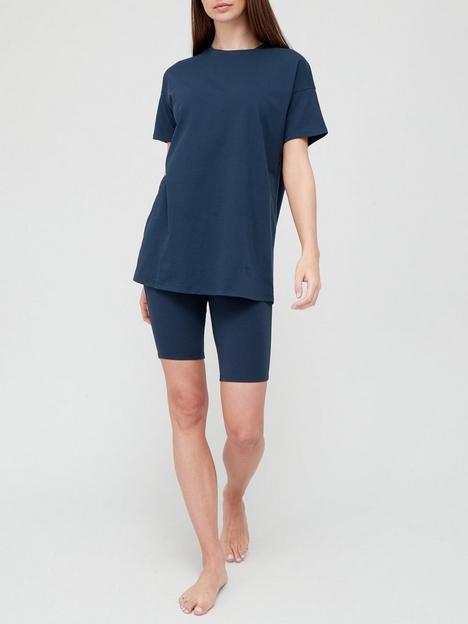 v-by-very-cycling-shorts-and-t-shirt-pyjamas-navy