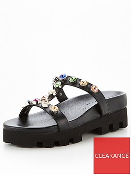 kurt-geiger-london-mabel-rainbow-flat-sandal-black