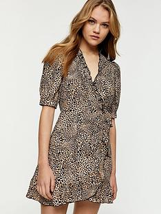 topshop-animal-wrap-dress-naturalnbsp