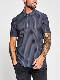 river-island-rib-zip-polo-shirt-slate