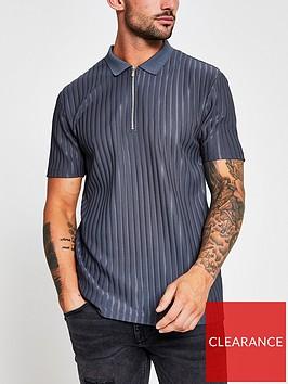 river-island-rib-zip-polo-shirt-slate