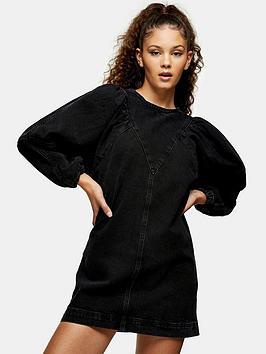 topshop-puff-sleeve-dress-washed-black