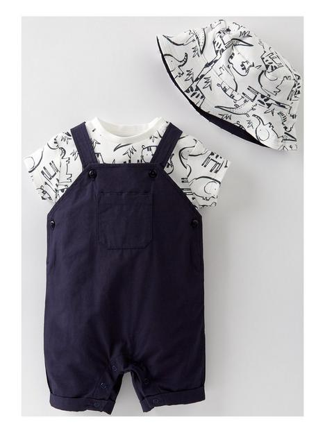 mini-v-by-very-baby-boys-woven-bibshort-bodysuit-and-hat-set