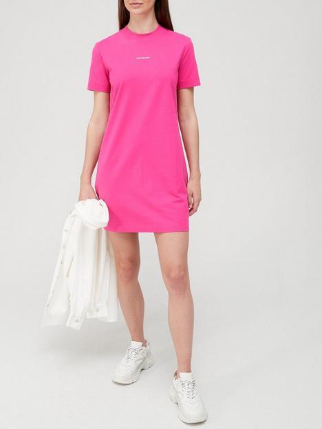 calvin-klein-jeans-micro-branding-t-shirt-dress-pink