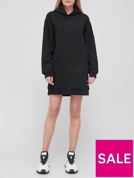 calvin-klein-jeans-logo-trim-hoodie-dress-black
