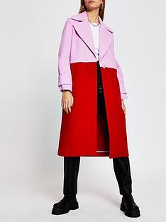 river-island-single-breasted-colourblock-coat-red