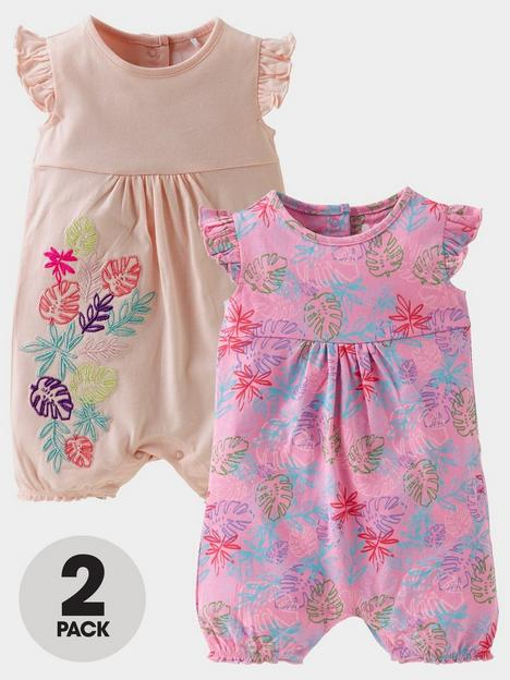 mini-v-by-very-baby-girls-2-pack-hibiscus-shorty-romper-multi
