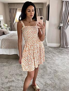 michelle-keegan-printed-shirred-top-jersey-mini-dress-orange-print