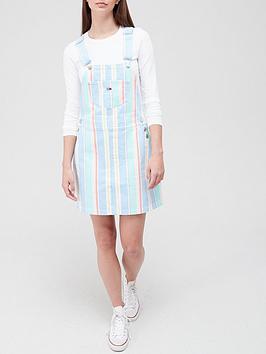 Tommy Jeans Stripe Dungaree Denim Dress - Multi