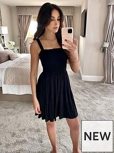 michelle-keegan-shirred-top-jersey-mini-dress-black