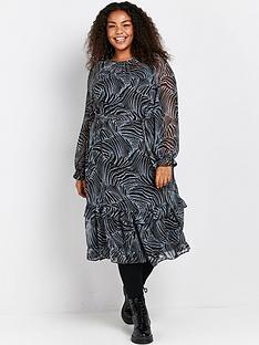 evans-zebra-frill-hem-chiffon-dress-black