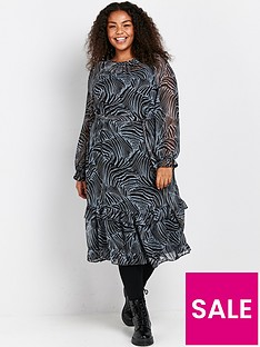 evans-zebra-frill-hem-chiffon-dress-black