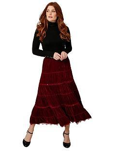 joe-browns-tiered-velvet-skirt-red